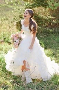 A Line Queen Anne Organza Lace Zipper Wedding Gown