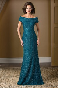 Short-Sleeved Long Lace Mother Of The Bride Dress With Sweep Train