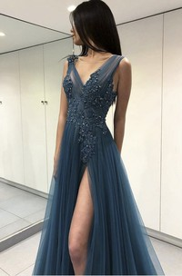 Sexy Front Split V-neck Floor-length Dress With Appliques And Beading