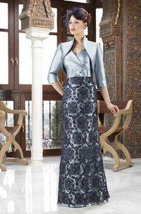 3-4 Sleeve V-Neck Lace Satin Mother Of The Bride Dress With Bow And Jacket
