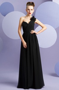 One-Shoulder A-Line Chiffon Bridesmaid Dress With Floral Single Strap