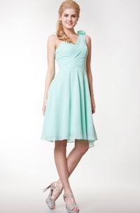One-shoulder A-line Chiffon Knee Length Dress With Flower