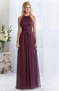 High-Neck A-Line Floor-Length Bridesmaid Dress With Keyhole Back