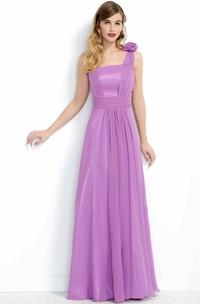Sleeveless One-Shoulder Maxi Organza&Chiffon Bridesmaid Dress With Flower