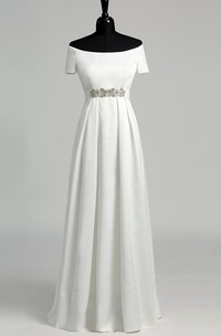 A Line Celebrity Floor-length Beading Pleats Satin Wedding Dress