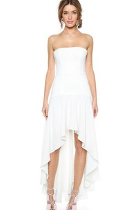 Strapless A-line Chiffon Dress With High-low Style
