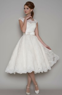 Tea-Length A-Line Cap Sleeve Square Neck Ribboned Lace Wedding Dress