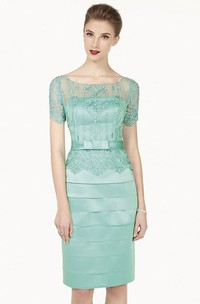 Illusion Neck Short Sleeve Sheath Knee Length Prom Dress With Layered Skirt