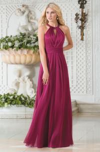 High-Neck A-Line Chiffon Bridesmaid Dress With Keyhole Back And Pleats