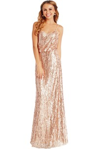 Sheath Sleeveless Spaghetti Sequin Muti-Color Convertible Bridesmaid Dress With Low-V Back