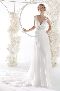 Cap Sleeve Elegant Illusion Lace Chiffon Wedding Gown With Plunging Neckline And Keyhole Back