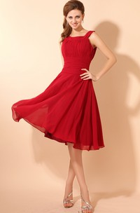 Soft Flowing Fabric Square-Neck Midi Dress With Draping