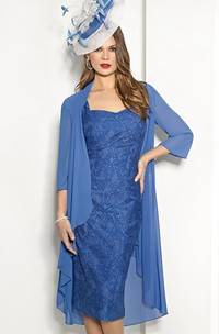 Sheath Knee-Length Square Neck 3-4 Sleeve Appliqued Chiffon Mother Of The Bride Dress