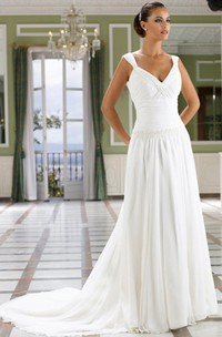 A-Line V-Neck Floor-Length Ruched Sleeveless Chiffon Wedding Dress With Pleats And Deep-V Back