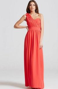 Maxi Sleeveless Ruched One-Shoulder Chiffon Bridesmaid Dress