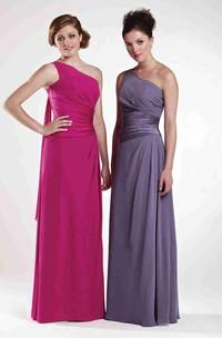 Sheath One-Shoulder Sleeveless Draped Floor-Length Chiffon Bridesmaid Dress