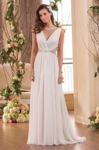 V-Neck Sleeveless Chiffon Wedding Dress With Beaded Waist And Pleats