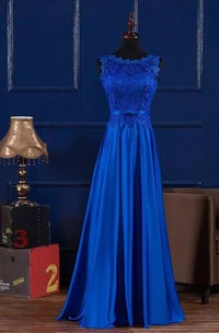 Sleeveless A-line Jewel Floor-length Satin Lace Bridesmaid Dress with Bow and Pleats