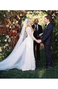 A Line V-neck Lace Tulle Open Back Wedding Dress