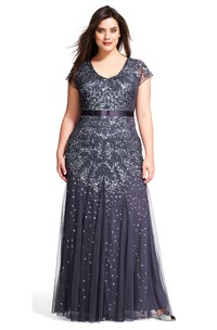 V-Neck Long Short-Sleeve Pleated Tulle&Sequins Plus Size Bridesmaid Dress