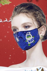Non-medicial Sequin Christmas Cotton Reusable Face Mask In 7 Colors